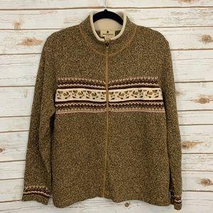 Vintage Woolrich Fall Leaves Zip Front Cardigan